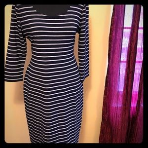 Dresses & Skirts - Navy and gray striped dress